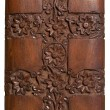 Carved wood decorative floral panel - Stock Photo
