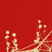 Seed heads and stems on red ribbed background — Stock Photo