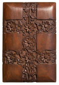 Carved wood decorative floral panel — Stock Photo