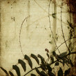 Grunge tangled branches on antique bamboo paper — Stock Photo