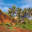 Tropical Huts on a Red Cliff — Stock Photo