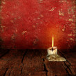 Candle Stubb on rustic moody Background — Stock Photo