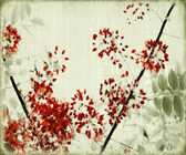 Tree Blossom on Antique Bamboo Background — Stock Photo
