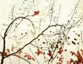 Black Branches and Stark Red Flowers on Paper — Stock Photo