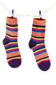 Socks hanging on a rope — Stock Photo