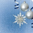 Silver Christmas baubles and snowflake — Stok fotoğraf