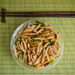 Stock Photo: Fried worm bamboo