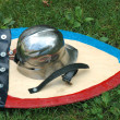 Helmet and shield — Stock Photo