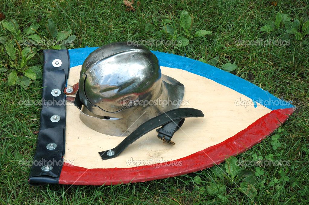 Knight's helmet and shield  Stock Photo #4218891