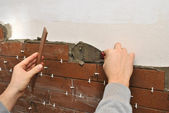 Tiling A Wall — Stock Photo