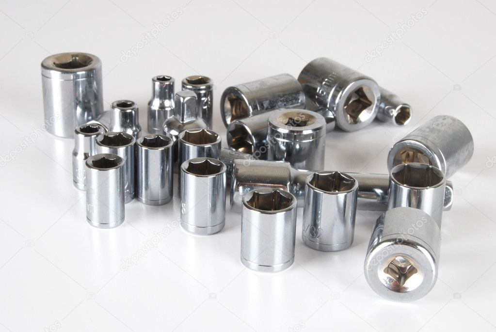 Various sizes of sockets and handle  Stock Photo #5228109