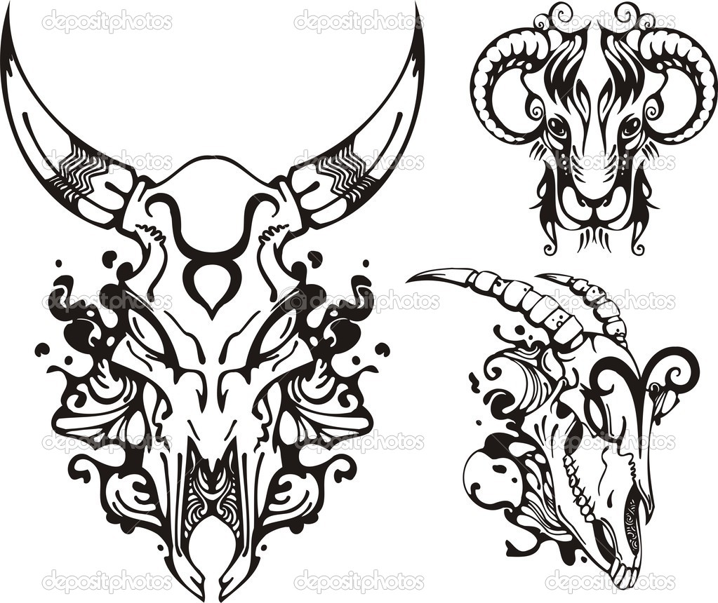 .Skull of a horned animal and the ram. Fantasy Zodiac. Vector illustration ready for vinyl cutting. — Stock Vector #4103014