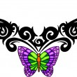 Tribal butterfly tattoo. — Stock Vector