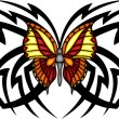 Vettoriale Stock : Tribal butterfly tattoo.