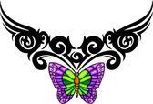 Tatuaje de mariposa tribal. — Vector de stock