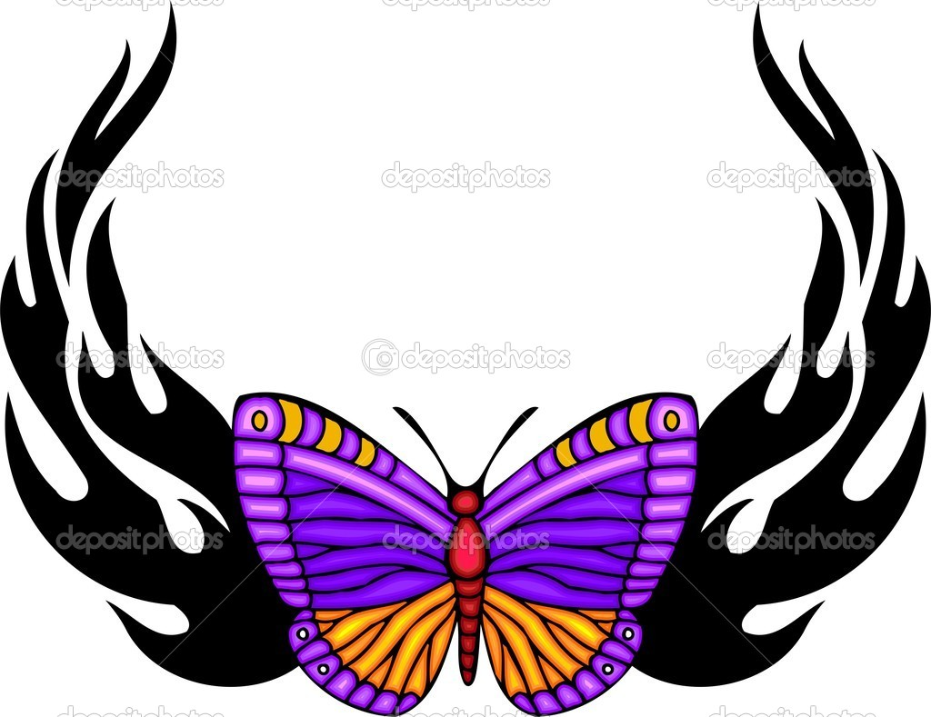 Tribal butterfly tattoo. — Stock Vector © Digital-Clipart