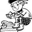 Stockvector : Boy in a sailor admits paper boats.Children.