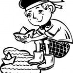 Boy v námořník přiznává papíru boats.children — Stock vektor