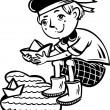 muchacho en un marinero admite papel boats.children — Vector de stock