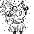 Girl with Christmas tree.Children. — Vector de stock #4691810