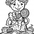 Girl with sweets.Children. — Vector de stock #4691857