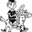 Boy on horseback with a sword.Children. — Imagen vectorial