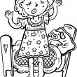 Girl with cot.Children. — Vector de stock #4692150