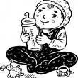Toddler with bottle of milk in his hands. — ストックベクター #4692260