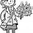 Vecteur: Girl with bouquet of leaves.Children.