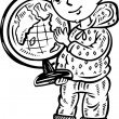 Boy with globe.Children. — Vector de stock #4692422