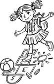 Girl playing hopscotch.Children. — Stock Vector