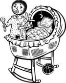 Baby in a cradle.Children. — Stock Vector