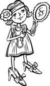 Meisje met een spiegel maakt een manicure. — Stockvector