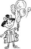Girl with balloons.Children. — Stock Vector