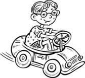 Boy on a typewriter.Children. — Stock Vector
