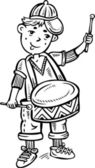 Boy wearing a cap with drum.Children. — Stock Vector
