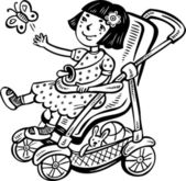 Girl in a stroller with a pacifier. — Stock Vector