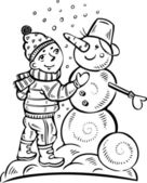 Boy sculpts a snowman.Children. — Stock Vector