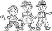 Children are going hand in hand. — Stock Vector