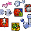 Weights and dumbbell  - vector set. — Imagens vectoriais em stock