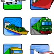 Six pictures of vehicles. Transport mashines. — Stock Vector