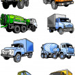 Stock Vector: Eight lorries. Cars.