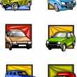 Royalty-Free Stock Vector Image: Six passenger cars in multi-coloured squares. Cars.