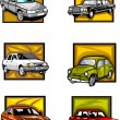 Royalty-Free Stock Vector Image: Six passenger cars in yellow squares. Cars.