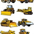 图库矢量图片: Eight building cars. Construction machinery.