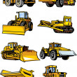 Stock Vector: Eight building cars. Construction machinery.