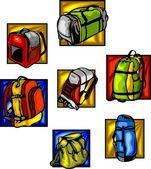 Sacos e mochilas - set vector. — Vetor de Stock
