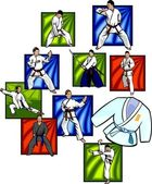 Oriental combat sports - vector set. — Stockvektor