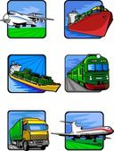 Sechs bilder von fahrzeugen. transport maschinen. — Stockvektor