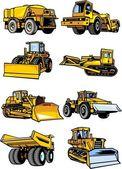 Acht auto's van gebouw. bouwmachines. — Stockvector